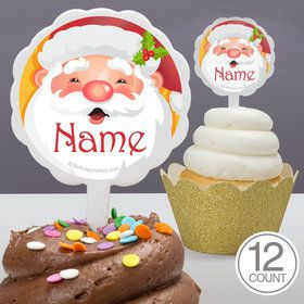 Cheerful Santa Personalized Cupcake Picks (12 Count)