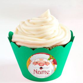 Cheerful Santa Personalized Cupcake Wrappers (Set of 24)