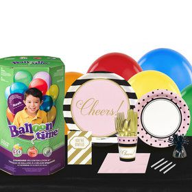 Cheers to You 16 Guest Party Pack and Helium Kit