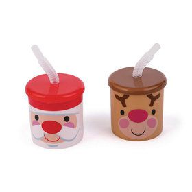 Cheery Christmas Plastic Cups With Lids and Straws (12)