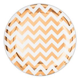 "Chevron Rose Gold 10.5"" Lunch Plate (8)"