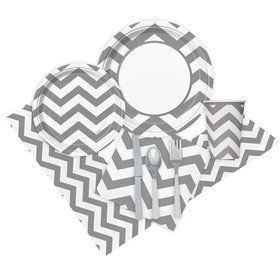 Chevron Silver Party Pack