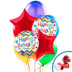 "Chevron & Stars ""Happy Birthday"" Jumbo Foil Balloon"