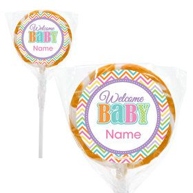 "Chevron Stripe Baby Shower Personalized 2"" Lollipops (20 Pack)"