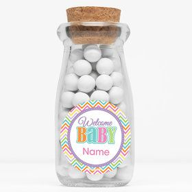 "Chevron Stripe Baby Shower Personalized 4"" Glass Milk Jars (Set of 12)"
