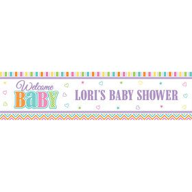 Chevron Stripe Baby Shower Personalized Banner (Each)