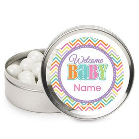 Chevron Stripe Baby Shower Personalized Mint Tins (12 Pack)