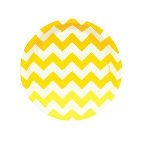 Chevron Yellow Dessert Plates