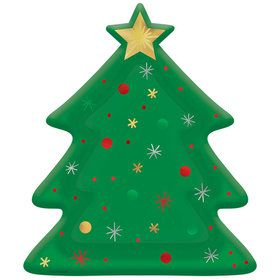 "Christmas Tree Shaped 10.5"" Plate (8)"