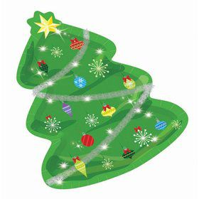 "Christmas Tree Shaped 7"" Dessert Plate (8)"