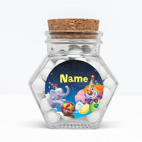 """Circus Party Personalized 3"""" Glass Hexagon Jars (Set of 12)"""