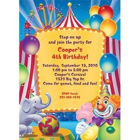 Circus Party Personalized Invitation (each)