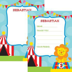 Circus Personalized Thank You Note (Each)