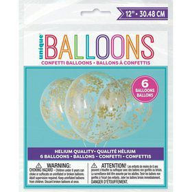"Clear Latex Balloons with Gold Confetti 12"", 6ct - Pre-Filled"