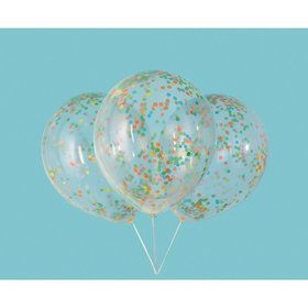 "Clear Latex Balloons with Multi-Colored Confetti 12"", 6ct - Pre-Filled"
