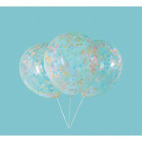 "Clear Latex Balloons with Pink, Blue & Gold Star Confetti 16"", 5ct - Pre-Filled"