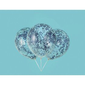"Clear Latex Balloons with Royal Blue Confetti 12"", 6ct - Pre-Filled"