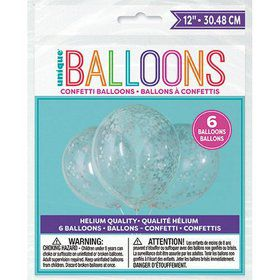"Clear Latex Balloons with Silver Confetti 12"", 6ct - Pre-Filled"