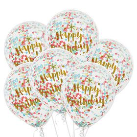 Clear Latex Birthday Balloons With Confetti (6 Count)