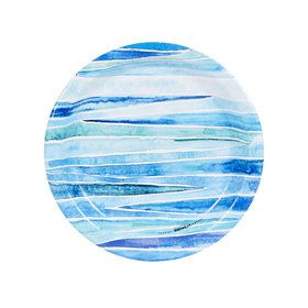 Coastal Sea Stripe Dessert Plate (8)