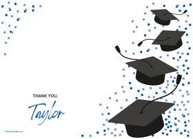 Confetti Grad Blue Personalized Thank You (Each)