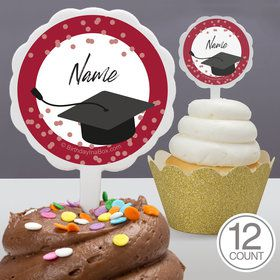 Confetti Grad Burgundy Personalized Cupcake Picks (12 Count)
