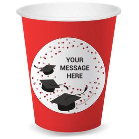 Confetti Grad Burgundy Personalized Cups (8)