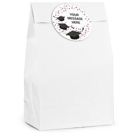 Confetti Grad Burgundy Personalized Favor Bag (12 Pack)