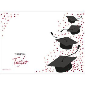 Confetti Grad Burgundy Personalized Thank You (Each)