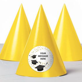 Confetti Grad Gold Personalized Party Hats (8 Count)