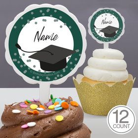 Confetti Grad Green Personalized Cupcake Picks (12 Count)