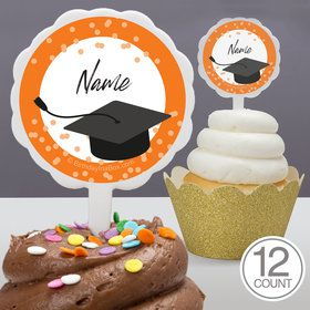 Confetti Grad Orange Personalized Cupcake Picks (12 Count)