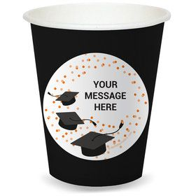 Confetti Grad Orange Personalized Cups (8)