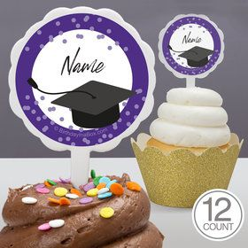 Confetti Grad Purple Personalized Cupcake Picks (12 Count)