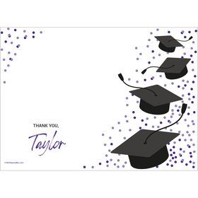 Confetti Grad Purple Personalized Thank You (Each)