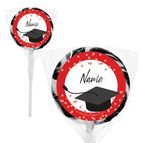 "Confetti Grad Red Personalized 2"" Lollipops (20 Pack)"