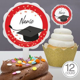 Confetti Grad Red Personalized Cupcake Picks (12 Count)