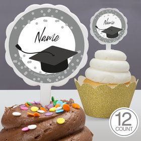Confetti Grad Silver Personalized Cupcake Picks (12 Count)