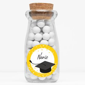 "Confetti Grad Yellow Personalized 4"" Glass Milk Jars (12 Count)"