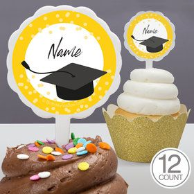 Confetti Grad Yellow Personalized Cupcake Picks (12 Count)