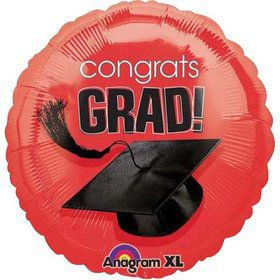 "Congrats Grad 18"" Red Balloon (Each)"