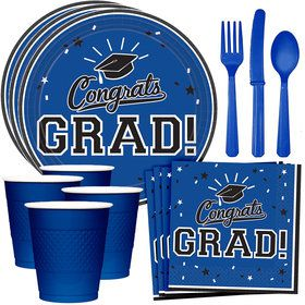 Congrats Grad Blue Standard Tableware Kit (Serves 18)