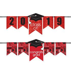 Congrats Grad Glitter Red Graduation Year Banner Kit