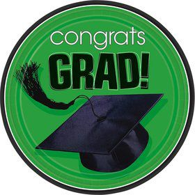 "Congrats Grad Green 9"" Luncheon Plates (18 Pack)"