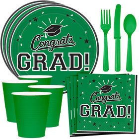 Congrats Grad Green Standard Tableware Kit (Serves 18)