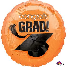 "Congrats Grad Orange 18"" Balloon (Each)"