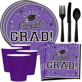 Congrats Grad Purple Standard Tableware Kit (Serves 18)
