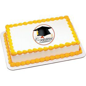 Congrats Grad Quarter Sheet Edible Cake Topper (Each)