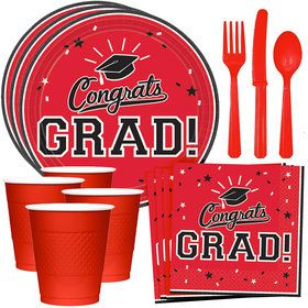 Congrats Grad Red Standard Tableware Kit (Serves 18)
