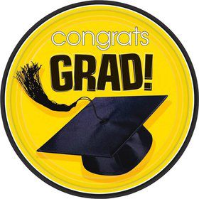 "Congrats Grad Yellow 7"" Cake Plates (18 Pack)"